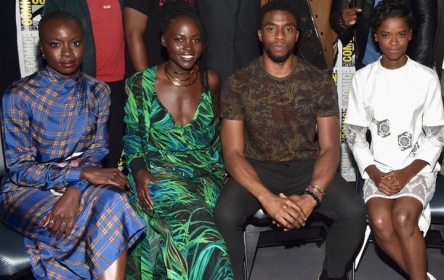 SAN DIEGO, CA - JULY 22: (Back row L - R) Actor Andy Serkis, director Ryan Coogler, actors Forest Whitaker, Michael B. Jordan, Winston Duke, Daniel Kaluuya, (front row L - R) Danai Gurira, Lupita Nyong'o, Chadwick Boseman and Letitia Wright from Marvel Studiosí ëBlack Panther' at the San Diego Comic-Con International 2017 Marvel Studios Panel in Hall H on July 22, 2017 in San Diego, California. (Photo by Alberto E. Rodriguez/Getty Images for Disney)
